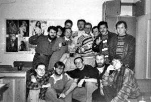 M. Synowiecki, Z. Tararako, J. Szafulski, S. Kaczmarek, P. Szymańczyk, S. Szubiński, T. Baranowski, A. Busiakiewicz, A. Bogoryja-Zakrzewski, A. Kafel, J. Wilczyński, M. Frymus, J.  Dalecki, w środku A. Głowacka - zdjęcie zbiorowe