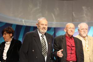 nestorzy dziennikarstwa zachodniopomorskiego, od prawej: Stanisław Modelski, Włodzimierz Piątek, Andrzej Gedymin
