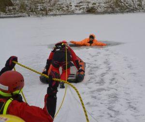 akcja ratunkowa na lodzie - wydobywanie tonącego za pomocą lin