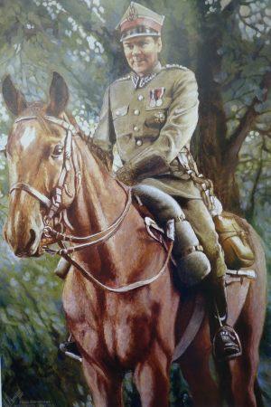 Obraz: Lech Pieczyński na koniu w mundurze ułana