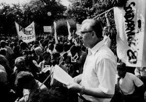 Manifestacja Solidarności 80 z udziałem Mariana Jurczyka w rocznicę podpisana porozumień sierpniowych, relacje dla Polskiego Radia Jarosław Dalecki i Zbigniew Malarski